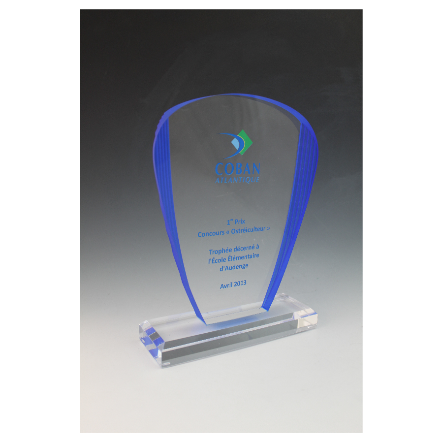 Trophée plexiglass arche bleue