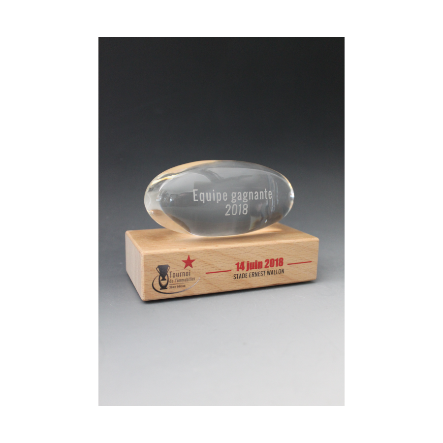 Trophée Bois verre ovale