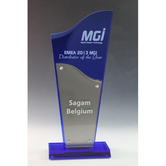 trophée plexiglass bleu 1411