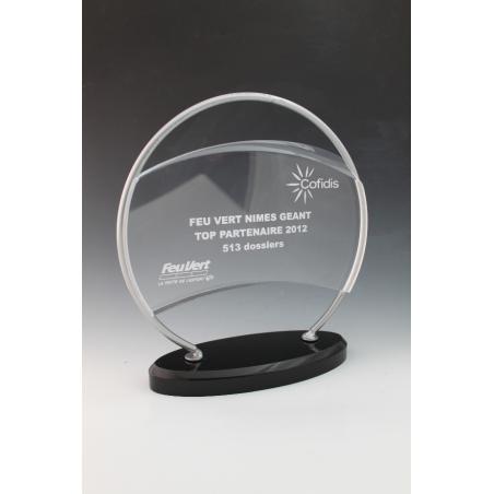 trophée plexiglass rond noir