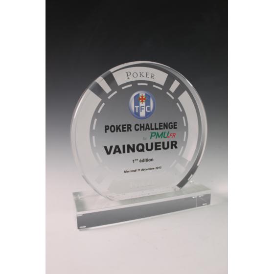 trophée plexiglass poker