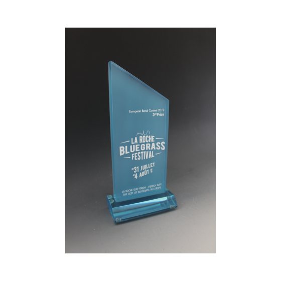 trophée bleu plexiglass