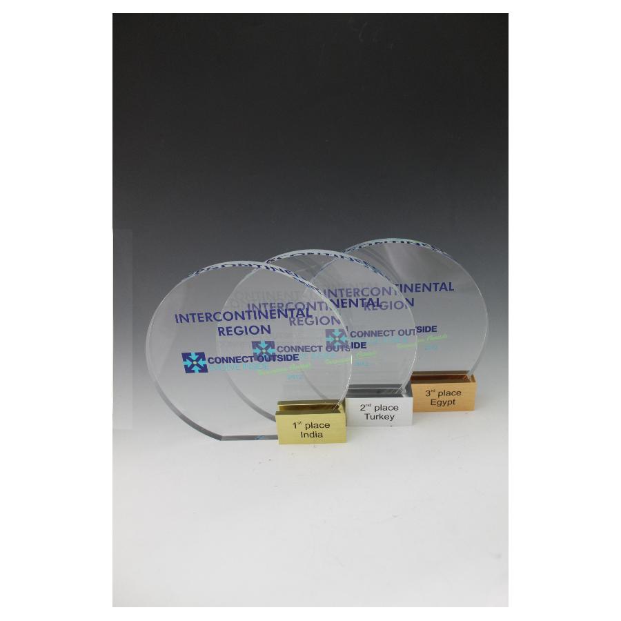 Pack X3 trophées plexiglass rond base alu