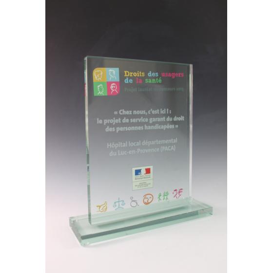 trophée verre rectangle