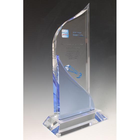 trophée verre BLEU 1165