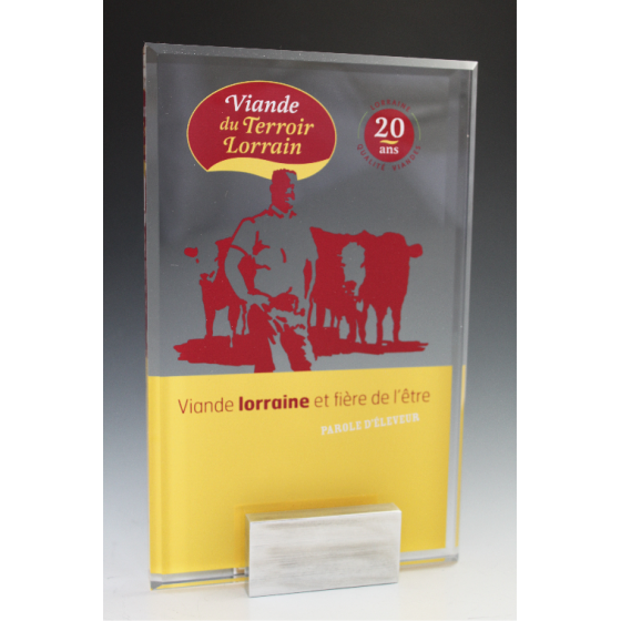 trophée plexiglass rectangle  base métal