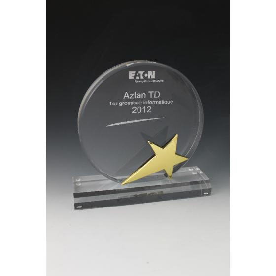 trophée plexiglass rond étoile métal