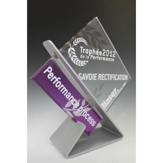 trophée plexiglass carré base alu