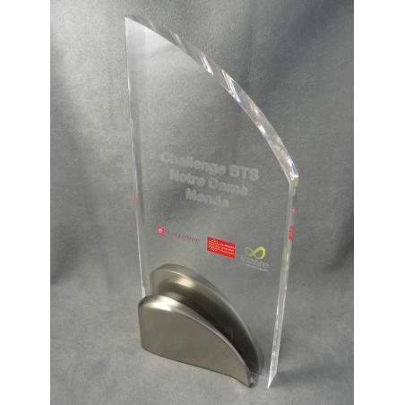 trophée  plexiglass vague métal