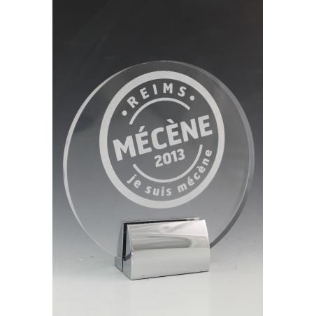 trophée plexiglass rond  12 base métal