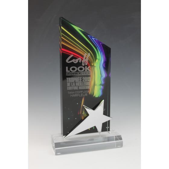 Trophée plexiglass peak étoile