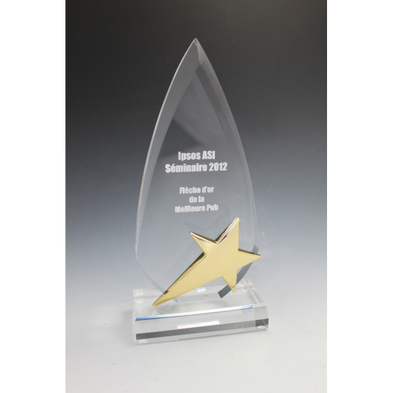 Trophée plexiglass flêche étoile