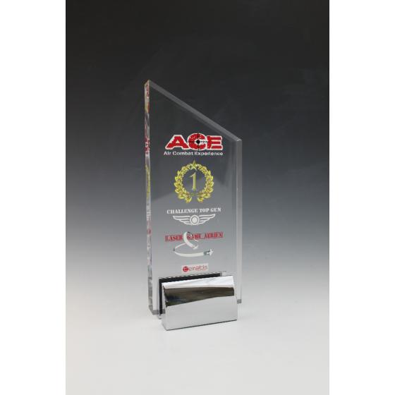 trophée plexiglass peak base métal