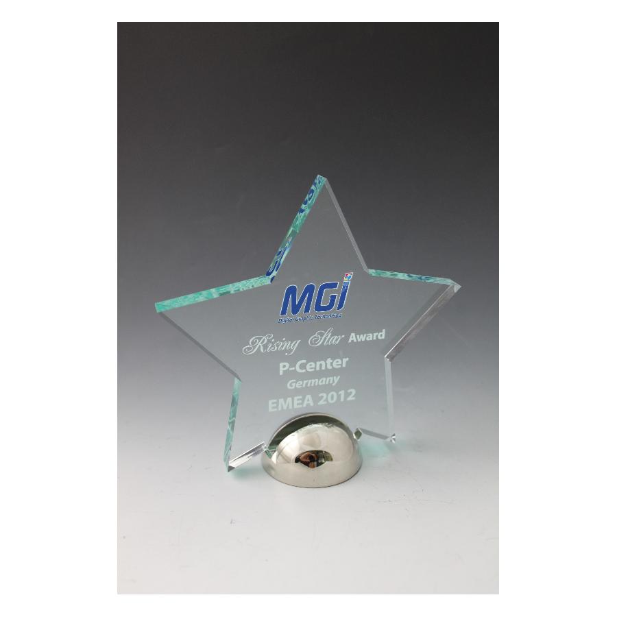 Trophée plexiglass  étoile base métal