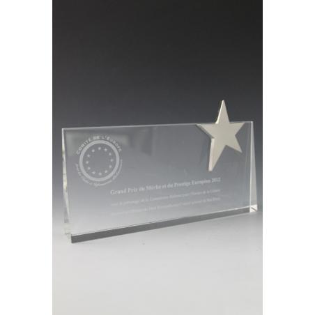 Trophée verre rectangle étoile