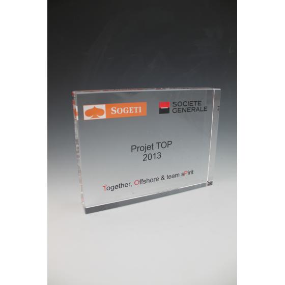 trophée verre rectangle 20X15X3