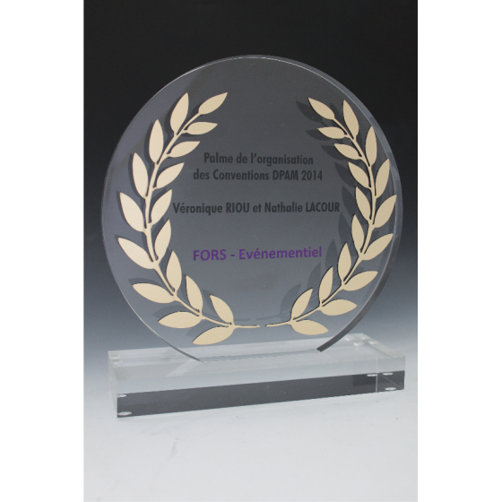 trophée en plexiglass rond avec lauriers gravure 2d tryje