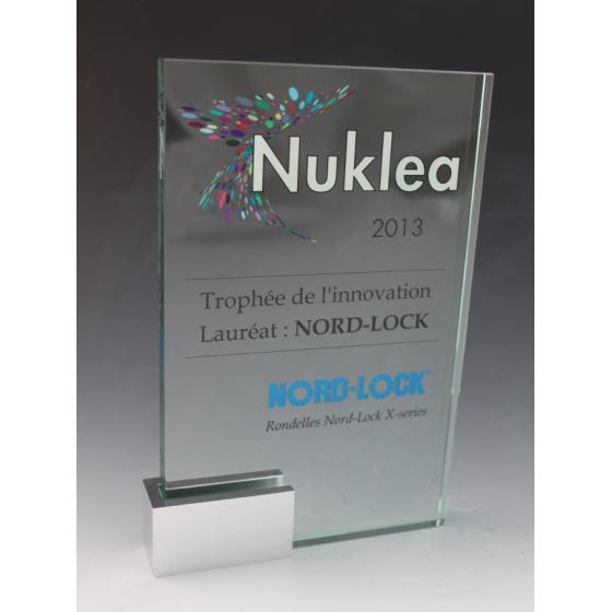 trophée verre base métal new
