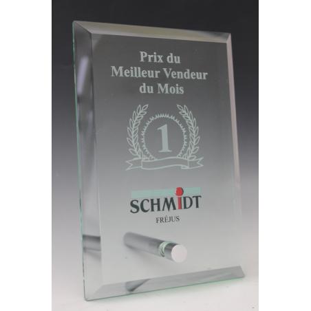 trophée en verre avec gravure 2d tryje