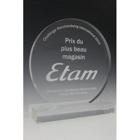trophée en plexiglass rond avec gravure 2d tryje