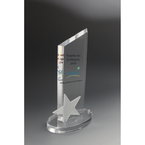 trophée en verre pointe étoile tryje