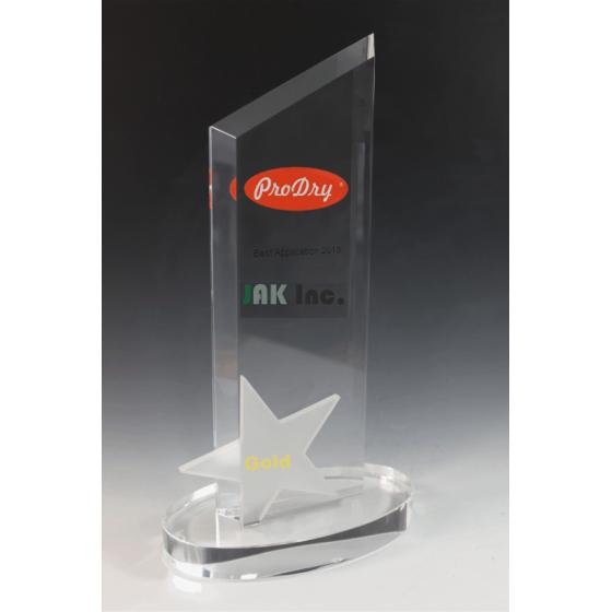 trophée en verre ingenico tryje étoile pointe