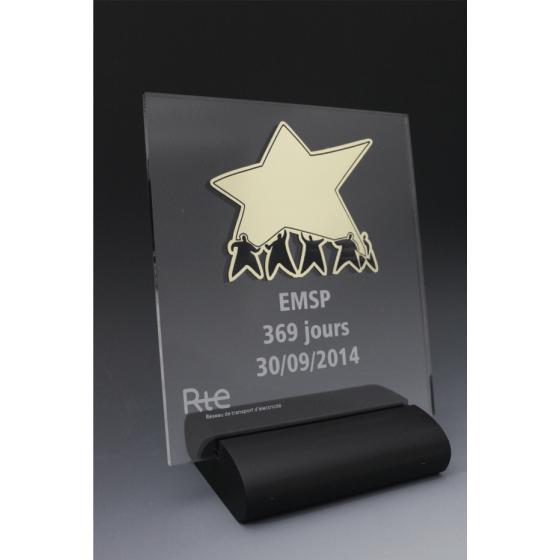 trophée en plexiglass équipe eco RTE