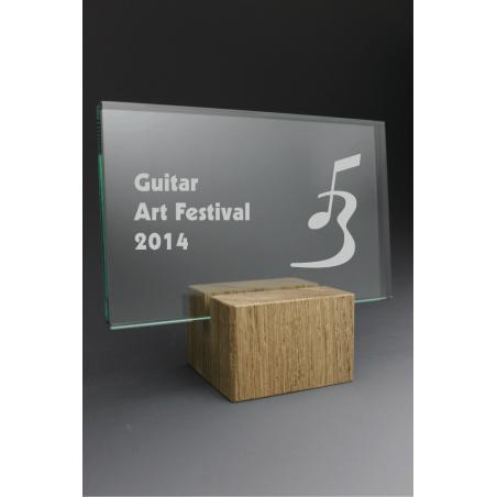 Trophée bois verre rectangle 2014 tryje