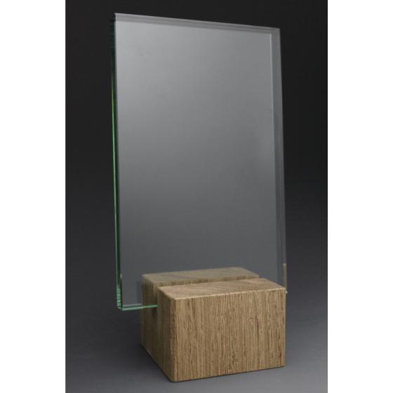 trophée bois verre rectangle 2 portrait