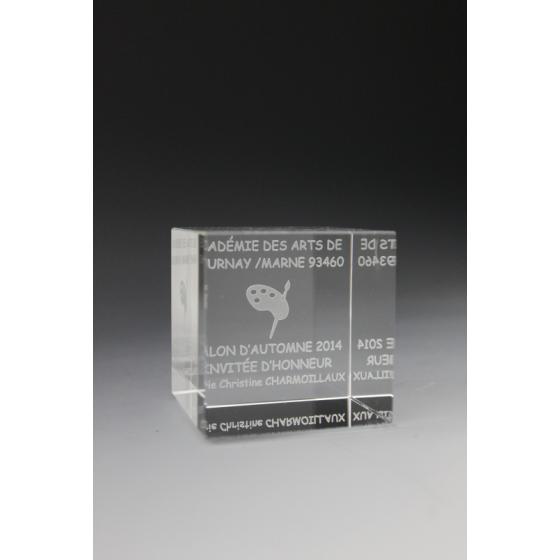 trophée cube en verre tryje