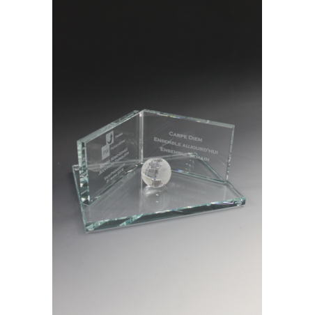 Trophée en verre paysage globe