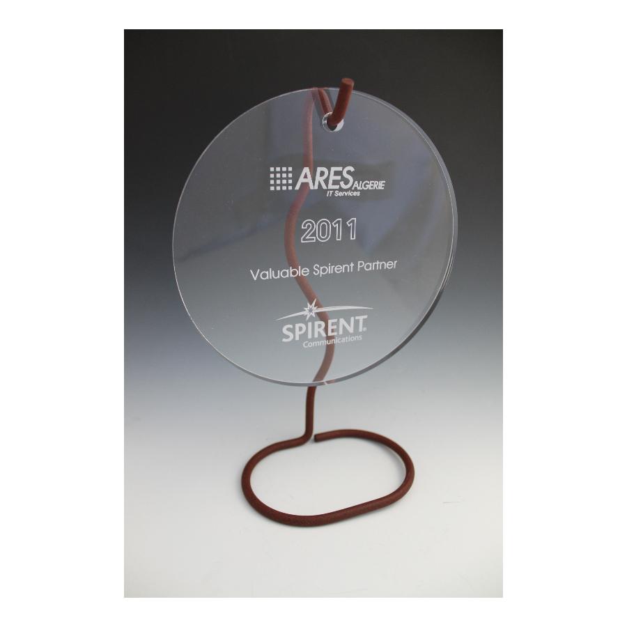 Trophée plexiglass rond suspendu