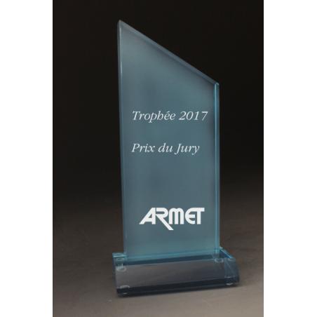 Trophée plexiglass peak bleu